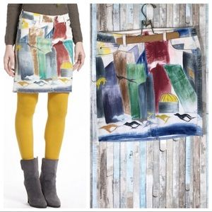 Anthropologie 29 Hand Painted Denim Pencil Skirt